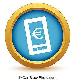 téléphone, euro, or, icône