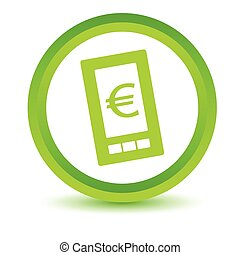 téléphone, euro, vert, icône