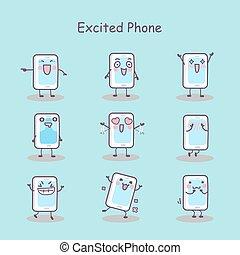 téléphone, excité, intelligent, dessin animé
