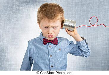 téléphone, fâché, étain, garçon, boîte, écoute, jeune
