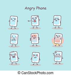 téléphone, fâché, dessin animé, intelligent