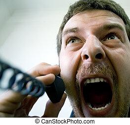téléphone, fâché, homme affaires, accentué