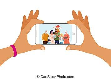 téléphone, famille, illustration., grand, screen., vecteur, utilisation, mains, technology., deux, plat, dessin animé, tenue, moderne, photo