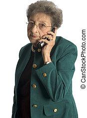 téléphone, femme aînée