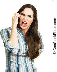 téléphone, femme fâchée, crier