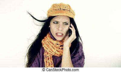 téléphone, femme fâchée