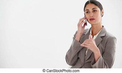 téléphone, femme souriante