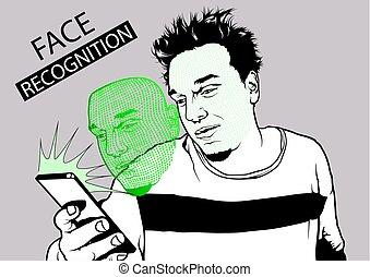 téléphone, figure, reconnaissance, smarth