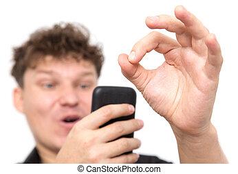 téléphone, fond blanc, homme