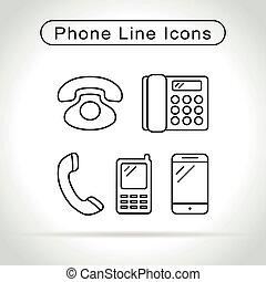 téléphone, fond blanc, icônes