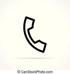 téléphone, fond, icône, blanc