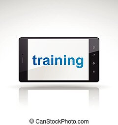 téléphone, formation, mot, mobile