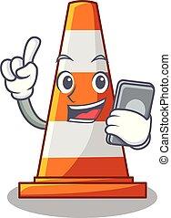 téléphone, forme, cône trafic, dessin animé, route