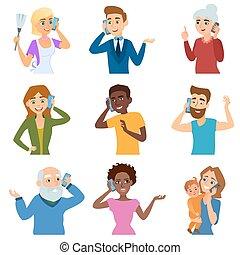 téléphone, gens, appeler, caractère, adulte, ensemble, ...