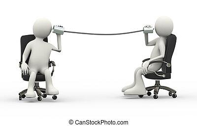 téléphone, gens, assis, métallique, conversation, boîte en fer-blanc, 3d