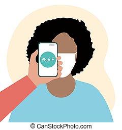 téléphone, gens, santé, balayage, distance, température