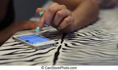 téléphone, girl, écrit, message, ton
