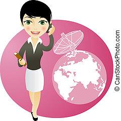téléphone, girl, business