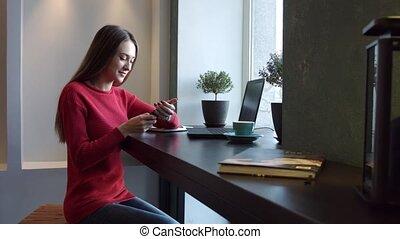 téléphone, girl, café, jeune, conversation