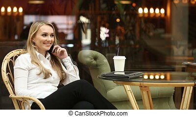 téléphone, girl, cafe., conversation