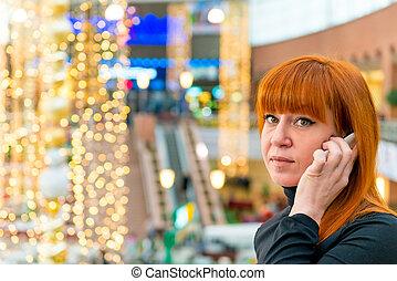téléphone, girl, centre commercial, conversation