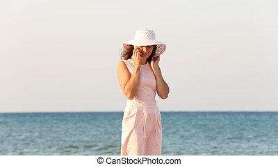 téléphone, girl, chapeau, conversation