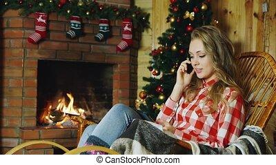 téléphone, girl, cheminée, conversation