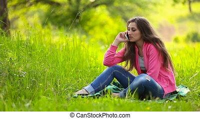 téléphone, girl, colère, conversation