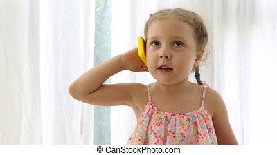téléphone, girl, jouet, émotif, conversation