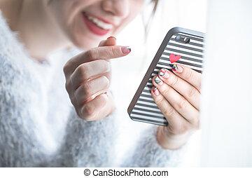 téléphone, girl, mains