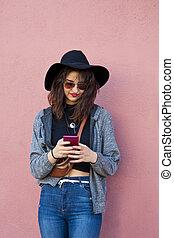 téléphone, girl, mode, rue