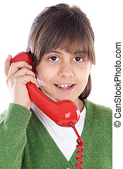 téléphone, girl, parler
