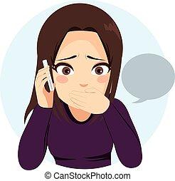 téléphone, girl, surpris