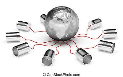 téléphone, globe, boîte, la terre