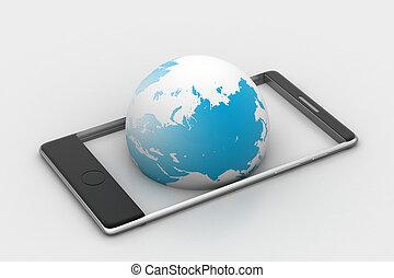 téléphone, globe, intelligent