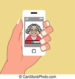 téléphone, grand-maman, vecteur