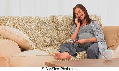 téléphone, heureux, avenir, mère