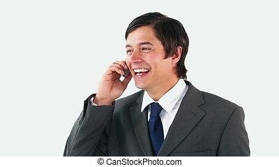 téléphone, heureux, parler homme