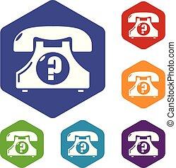 téléphone, hexahedron, vecteur, retro, icônes
