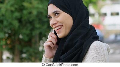 téléphone, hijab, conversation, 4k, femme