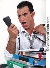 téléphone, homme affaires, crier, accentué