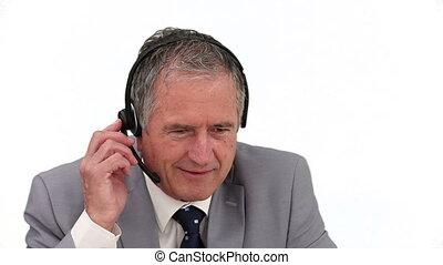 téléphone, homme affaires, ederly, conversation