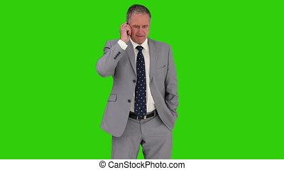 téléphone, homme affaires, gris, mûrir, avoir, appeler, complet