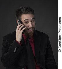 téléphone, homme affaires, par, heureux, conversation