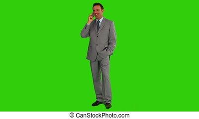 téléphone, homme, appeler, avoir, complet