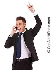 téléphone, homme, business, enjôleur