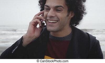 téléphone, homme, heureux