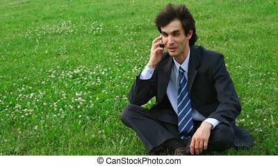 téléphone, homme, heureux, parler, beau