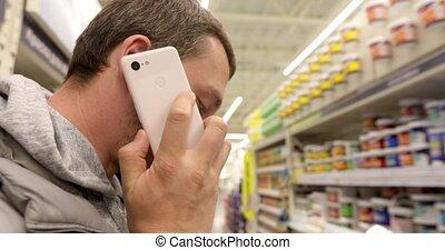 téléphone, homme, magasin, conversation