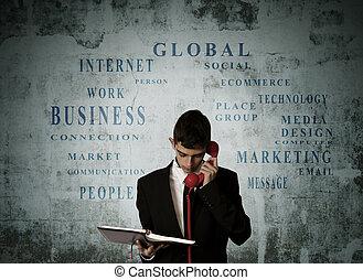 téléphone, homme, mots, conversation